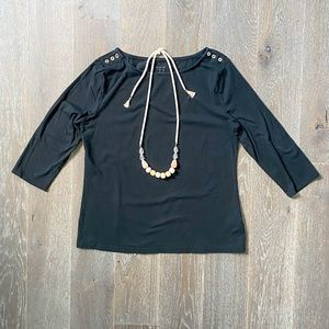a new day Black Gold Button Shoulder Tee XL